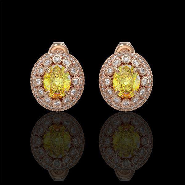 7.24 ctw Canary Citrine & Diamond Victorian Earrings 14K Rose Gold - REF-188K2Y
