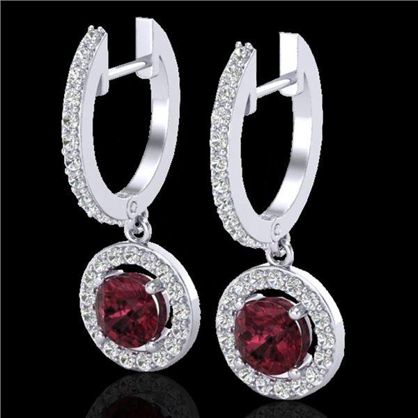 1.75 ctw Garnet & Micro VS/SI Diamond Certified Earrings 18k White Gold - REF-82G8W