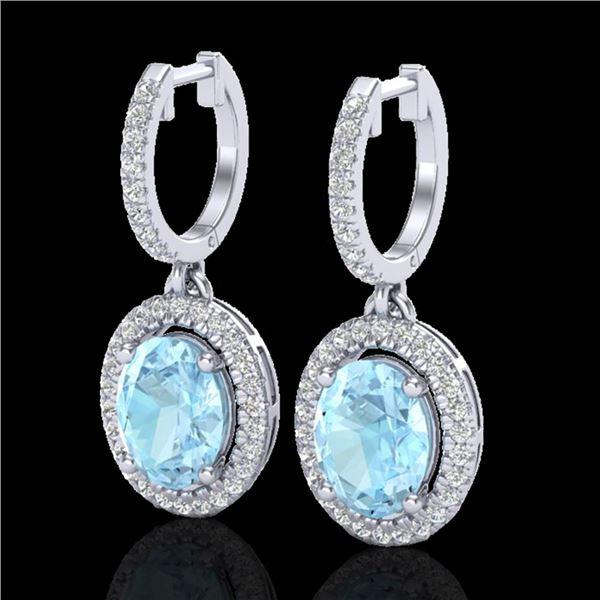 3.25 ctw Aquamarine & Micro Pave VS/SI Diamond Earrings 18k White Gold - REF-111R3K