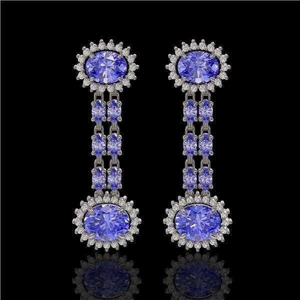 9.01 ctw Tanzanite & Diamond Earrings 14K White Gold - REF-227H3R