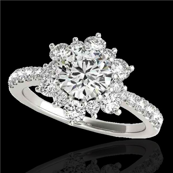 2 ctw Certified Diamond Solitaire Halo Ring 10k White Gold - REF-238M6G