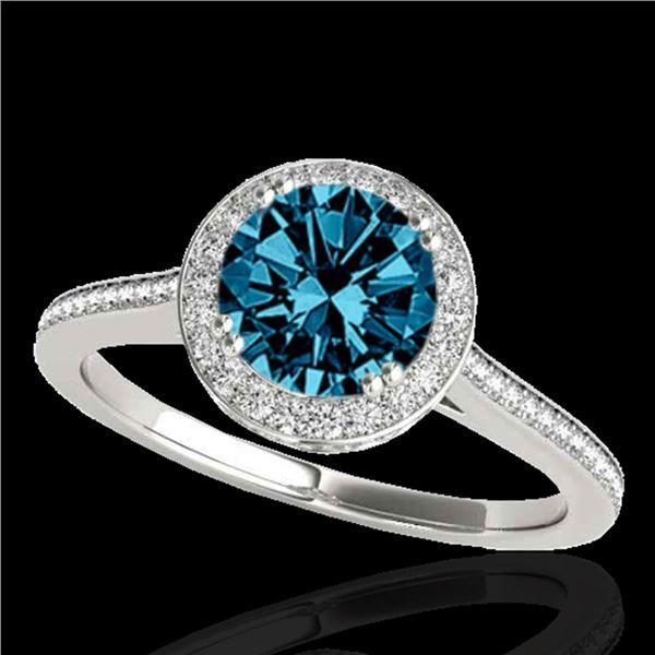 1.55 ctw SI Certified Fancy Blue Diamond Halo Ring 10k White Gold - REF-135A2N