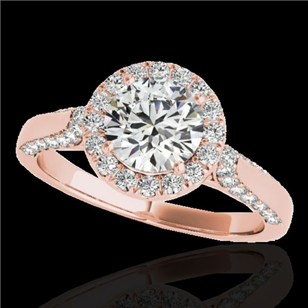1.5 ctw Certified Diamond Solitaire Halo Ring 10k Rose Gold - REF-204R5K