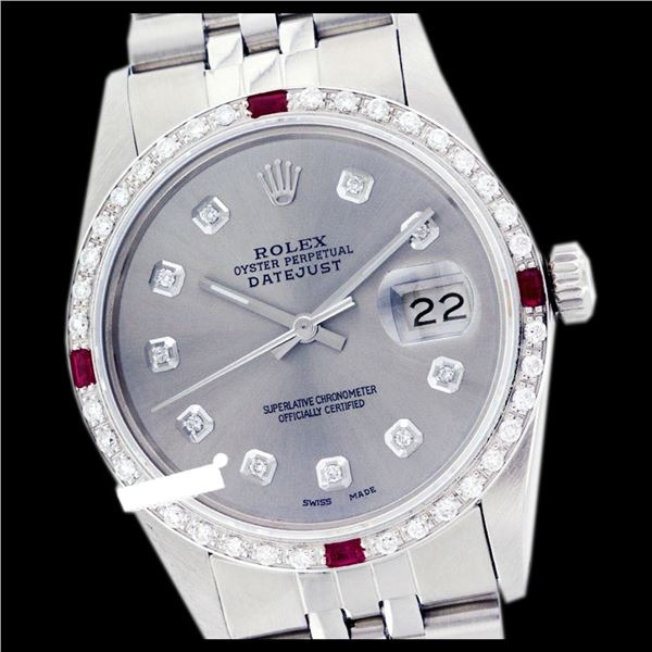 Rolex Men's Stainless Steel, QuickSet, Diam Dial & Diam/Ruby Bezel
