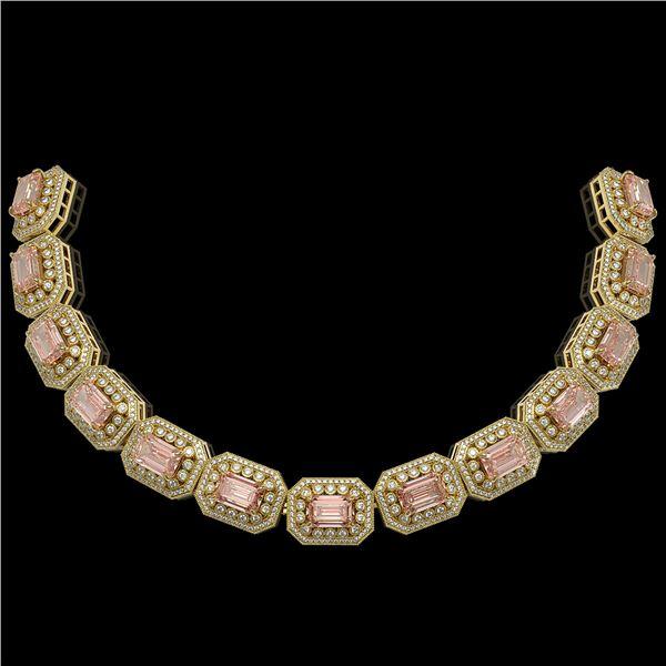 52.65 ctw Morganite & Diamond Victorian Bracelet 14K Yellow Gold - REF-1818N4F
