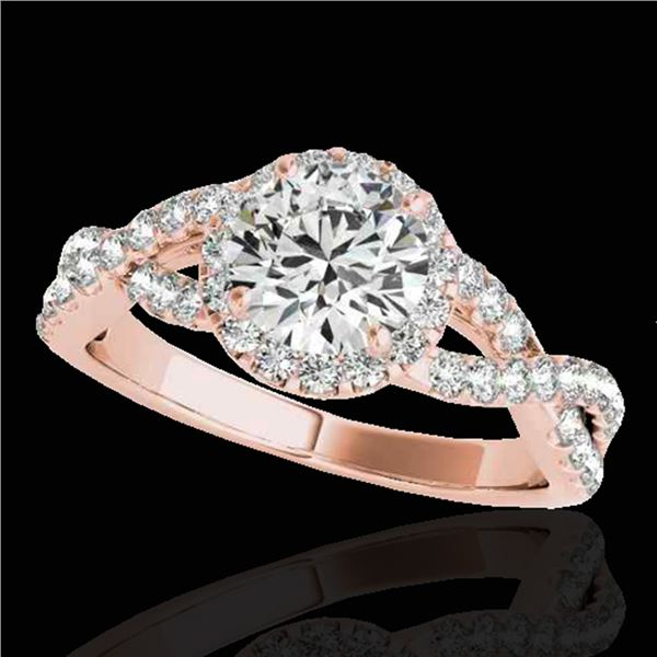 1.54 ctw Certified Diamond Solitaire Halo Ring 10k Rose Gold - REF-204G5W