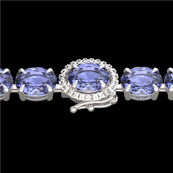 19.25 ctw Tanzanite & Diamond Eternity Micro Bracelet 14k White Gold - REF-234G5W