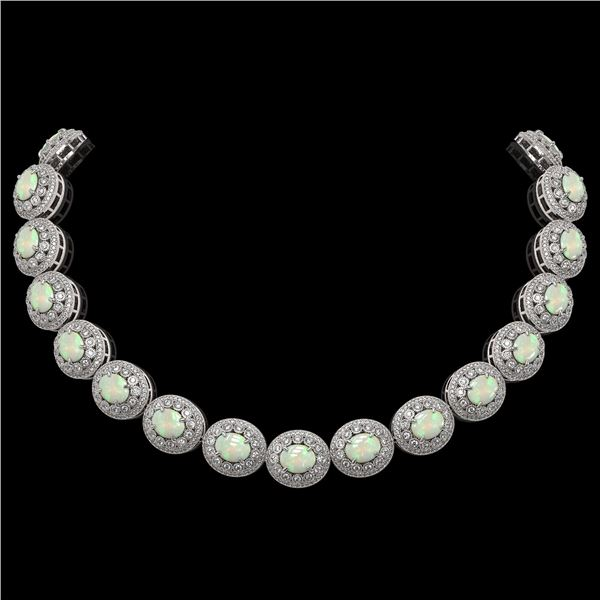 91.75 ctw Certified Opal & Diamond Victorian Necklace 14K White Gold - REF-3090M4G