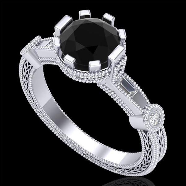 1.71 ctw Fancy Black Diamond Engagment Art Deco Ring 18k White Gold - REF-123H6R