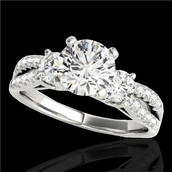 1.75 ctw Certified Diamond 3 Stone Ring 10k White Gold - REF-271M4G