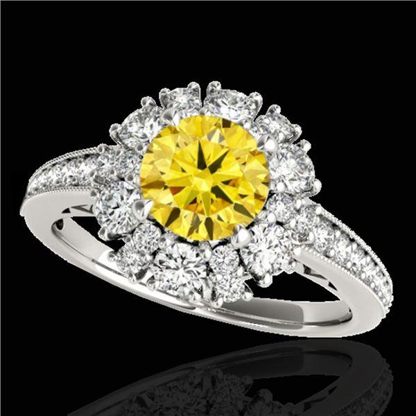 2.16 ctw Certified SI/I Fancy Intense Yellow Diamond Ring 10k White Gold - REF-200N5F