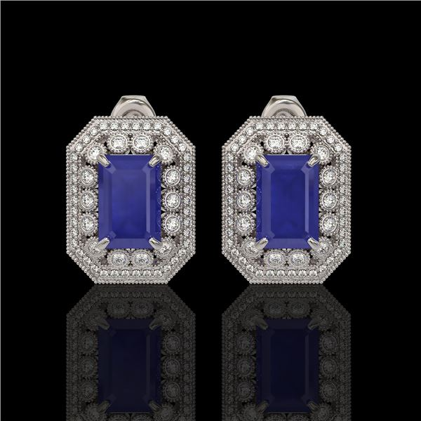 13.75 ctw Sapphire & Diamond Victorian Earrings 14K White Gold - REF-266H4R