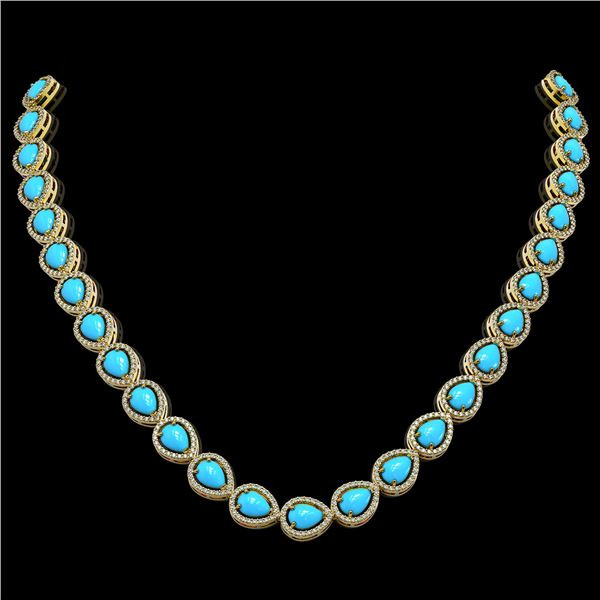 29.73 ctw Turquoise & Diamond Micro Pave Halo Necklace 10k Yellow Gold - REF-588H5R