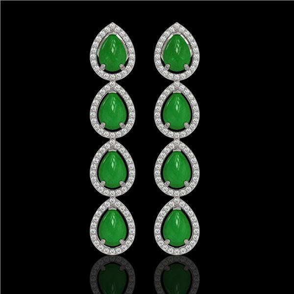 6.20 ctw Jade & Diamond Micro Pave Halo Earrings 10k White Gold - REF-158N2F