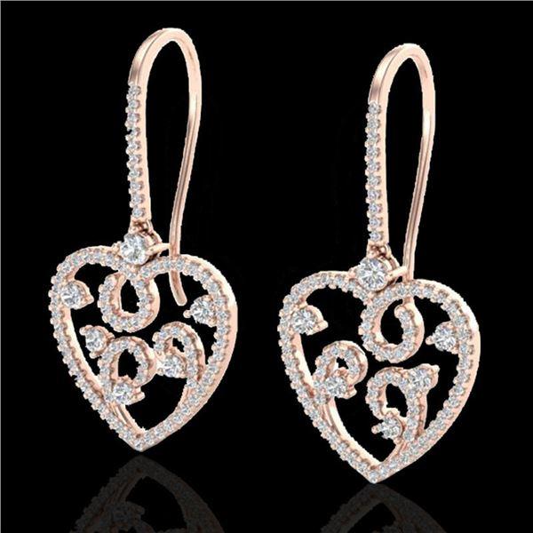 2.50 ctw VS/SI Diamond Micro Pave Designer Earrings 14k Rose Gold - REF-227A3N