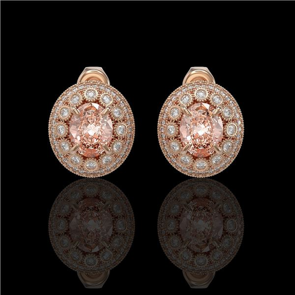 7.44 ctw Morganite & Diamond Victorian Earrings 14K Rose Gold - REF-288R5K
