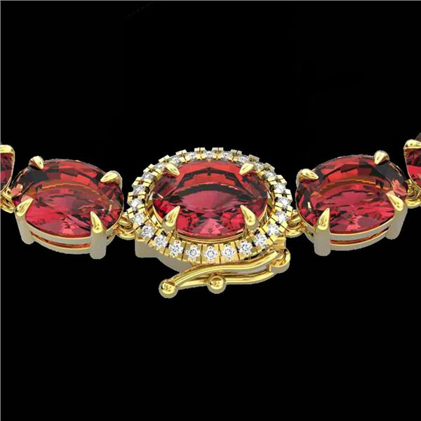 35.25 ctw Pink Tourmaline & Diamond Micro Necklace 14k Yellow Gold - REF-418X2A