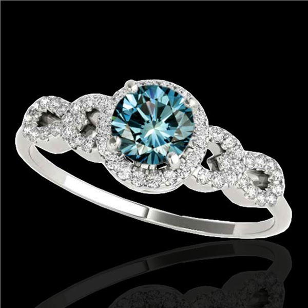 1.33 ctw SI Certified Fancy Blue Diamond Solitaire Ring 10k White Gold - REF-128A2N