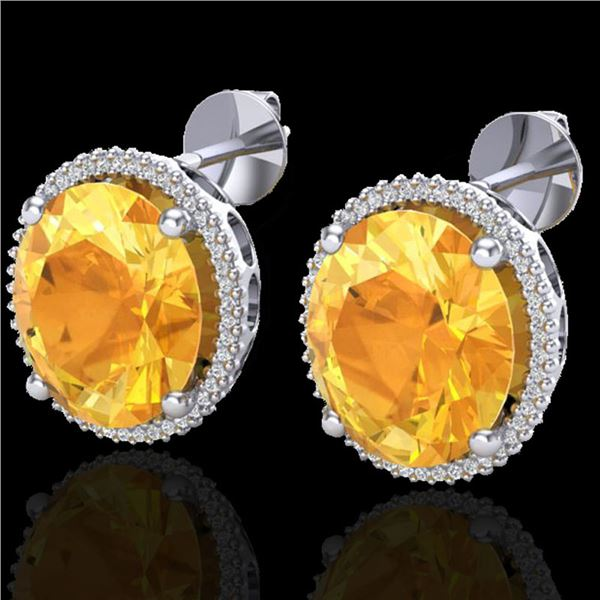 20 ctw Citrine & Micro Pave VS/SI Diamond Earrings 18k White Gold - REF-118F2M