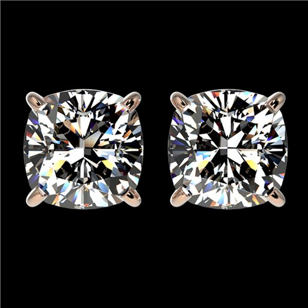 2 ctw Certified VS/SI Quality Cushion Diamond Stud Earrings 10k Rose Gold - REF-478A6N