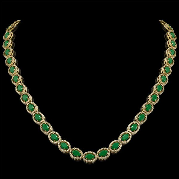 34.11 ctw Emerald & Diamond Micro Pave Halo Necklace 10k Yellow Gold - REF-709N3F