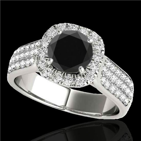 1.8 ctw Certified VS Black Diamond Solitaire Halo Ring 10k White Gold - REF-77H8R