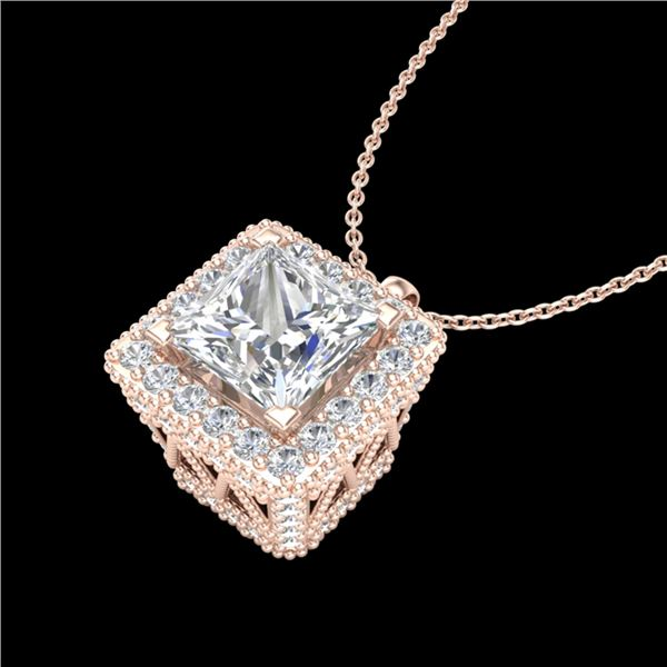 1.93 ctw Princess VS/SI Diamond Micro Pave Necklace 18k Rose Gold - REF-436K4Y