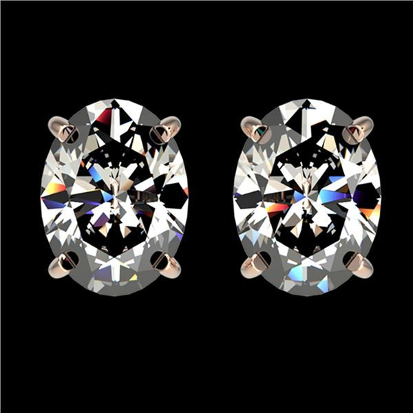 2.50 ctw Certified VS/SI Quality Oval Diamond Stud Earrings 10k Rose Gold - REF-601F4M