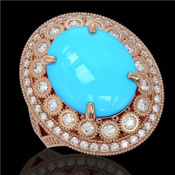 9.07 ctw Turquoise & Diamond Victorian Ring 14K Rose Gold - REF-245K5Y