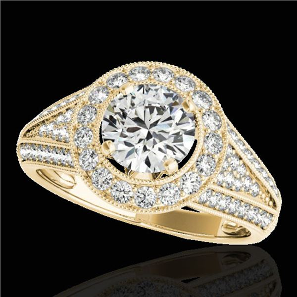 2.17 ctw Certified Diamond Solitaire Halo Ring 10k Yellow Gold - REF-340F9M