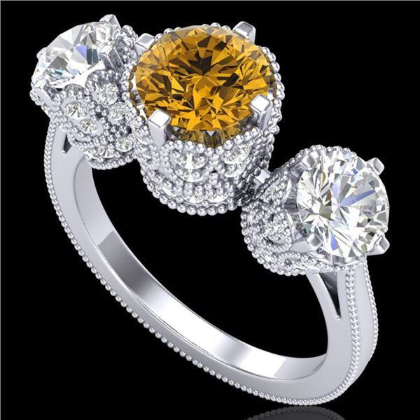 3.06 ctw Intense Fancy Yellow Diamond Art Deco Ring 18k White Gold - REF-390H9R