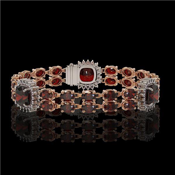 17.34 ctw Garnet & Diamond Bracelet 14K Rose Gold - REF-263Y6X