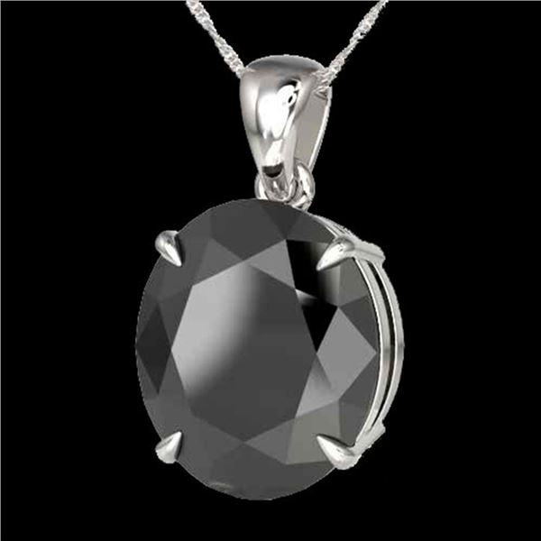 9 ctw Black Diamond Certified Designer Necklace 18k White Gold - REF-272K8Y