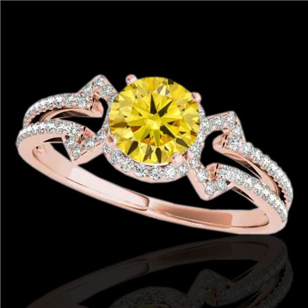 1.36 ctw Certified SI/I Fancy Intense Yellow Diamond Ring 10k Rose Gold - REF-204N5F