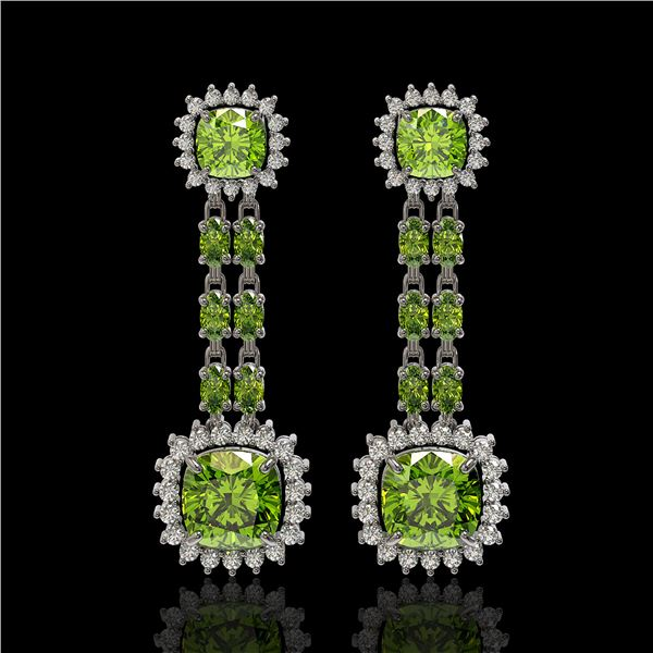 19.88 ctw Peridot & Diamond Earrings 14K White Gold - REF-290M9G