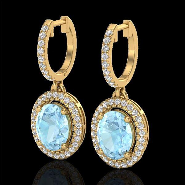 3.25 ctw Aquamarine & Micro Pave VS/SI Diamond Earrings 18k Yellow Gold - REF-111Y3X