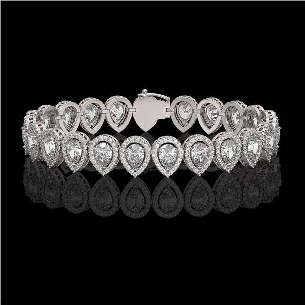 15.85 ctw Pear Cut Diamond Micro Pave Bracelet 18K White Gold - REF-2168Y2X