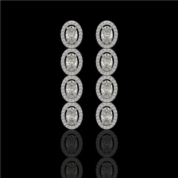 5.33 ctw Oval Cut Diamond Micro Pave Earrings 18K White Gold - REF-736F8M