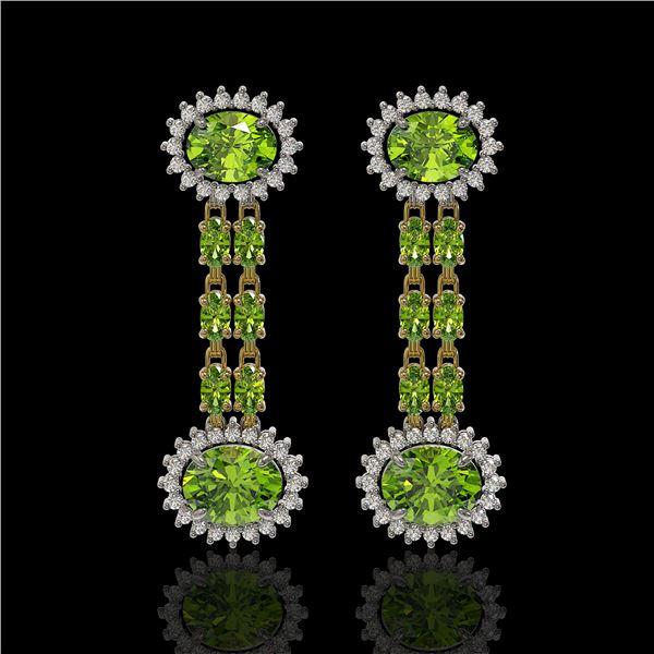 9.21 ctw Peridot & Diamond Earrings 14K Yellow Gold - REF-157H5R