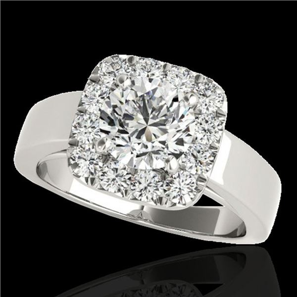 1.55 ctw Certified Diamond Solitaire Halo Ring 10k White Gold - REF-190G9W