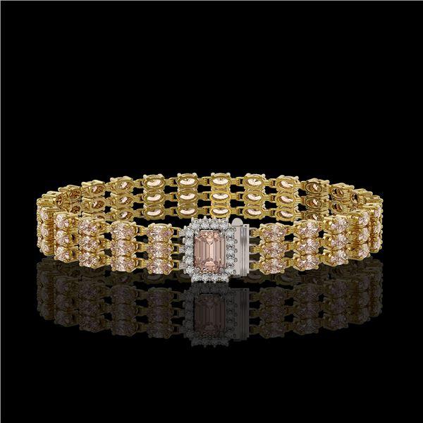 24.91 ctw Morganite & Diamond Bracelet 14K Yellow Gold - REF-354K5Y