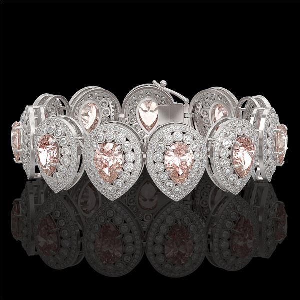 47.64 ctw Morganite & Diamond Victorian Bracelet 14K White Gold - REF-2044R4K