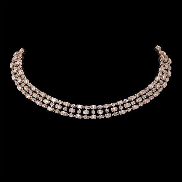 26.75 ctw Morganite & Diamond Necklace 10K Rose Gold - REF-527H3R
