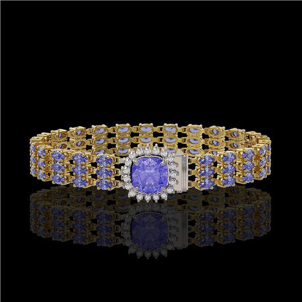 27.75 ctw Tanzanite & Diamond Bracelet 14K Yellow Gold - REF-377N5F