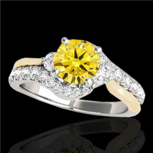 1.6 ctw Certified SI Intense Diamond Bypass Solitaire Ring 10k 2Tone Gold - REF-211W4H