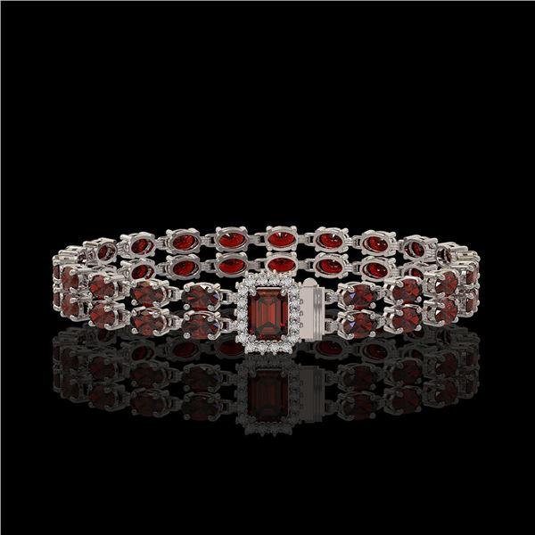 14.45 ctw Garnet & Diamond Bracelet 14K White Gold - REF-236M4G