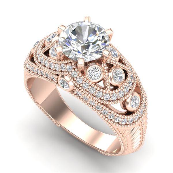 2 ctw VS/SI Diamond Solitaire Art Deco Ring 18k Rose Gold - REF-480G2W