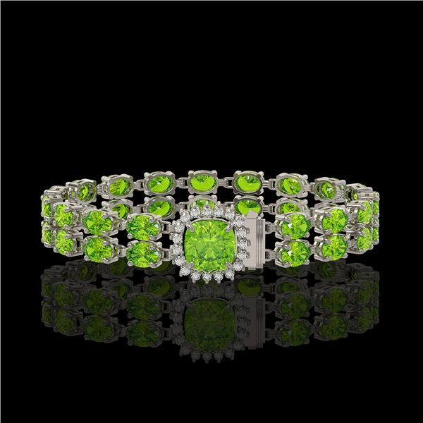 17.4 ctw Peridot & Diamond Bracelet 14K White Gold - REF-245F5M