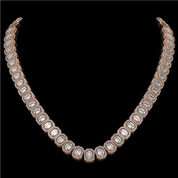 40.3 ctw Emerald Cut Diamond Micro Pave Necklace 18K Rose Gold - REF-6301W5H