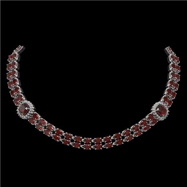 33.54 ctw Garnet & Diamond Necklace 14K White Gold - REF-527N3F